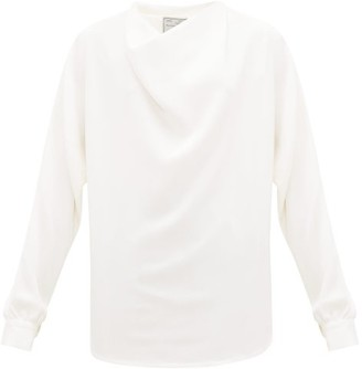Giuliva Heritage Collection The Joanna Draped Silk-crepe Blouse - Womens - Ivory