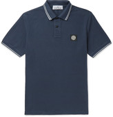 Stone Island - Slim-fit Contrast-tipped Stretch-cotton Piqué Polo Shirt