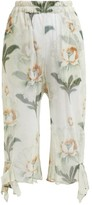 By Walid Yayoi Floral-print Cotton-tulle Cropped Trousers - Womens - Ivory Multi
