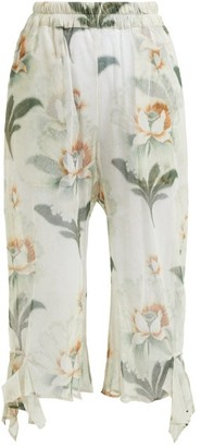 By Walid Yayoi Floral-print Cotton-tulle Cropped Trousers - Ivory Multi