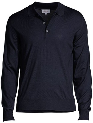 Brioni Long-Sleeve Knit Polo