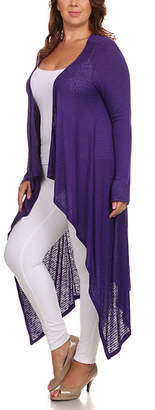 Lady Curvaceous Women's Cardigans Purple - Purple Hi-Low Open Cardigan - Plus