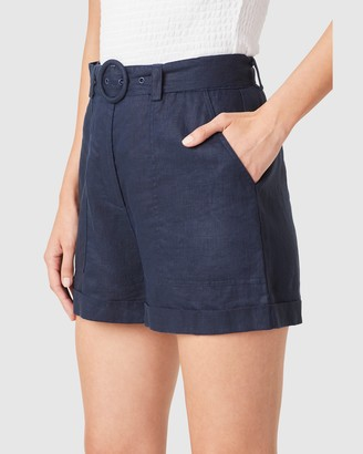 French Connection Women's Shorts - Linen Belted Shorts - Size One Size, 8 at The Iconic