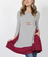 42pops 42POPS Women's Tunics Wine - Wine Stripe Contrast-Panel Side-Pocket Swing Tunic - Women