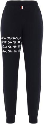 Thom Browne Animal Embroidered 4-Bar Sweatpants