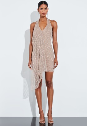 Missguided Nude Silver Drop Pearl Embellished Drape Mini Dress