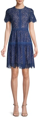 Shoshanna Floral Lace Cotton-Blend Mini Dress