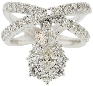 YEPREM 18kt White Gold Diamond Dangle Crossover Ring