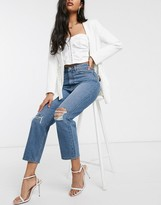 Asos DESIGN Recycled Florence authentic straight leg jeans in extreme aged mid blue with ripped knees
