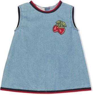 Gucci Kids Strawberry Detail Sleeveless Dress