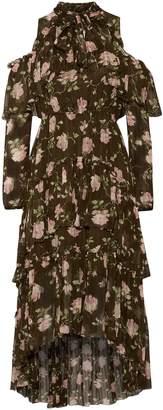 Ulla Johnson Marion Cold-shoulder Tiered Floral-print Crinkled Silk-gauze Dress