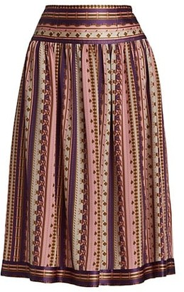 Tory Burch Silk Burnout Pleated Skirt