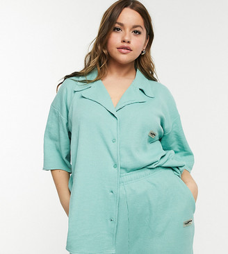 Loose Threads Plus relaxed lounge shirt in turquoise waffle co-ord