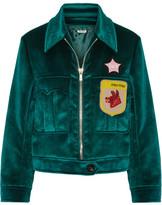 Miu Miu Appliquéd Velvet Bomber Jacket - Emerald