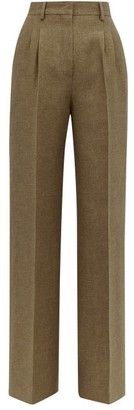 Fendi Straight-leg Side-stripe Wool & Silk Trousers - Womens - Brown Multi