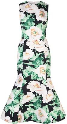 Oscar de la Renta Floral-Print Twill Tulip-Hem Dress