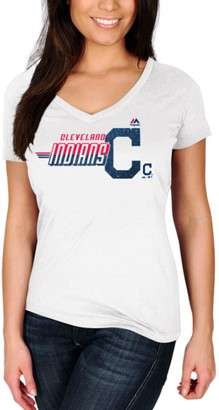 Majestic Women's White Cleveland Indians Momentum Builder V-Neck T-Shirt
