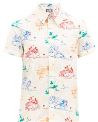 Gucci Mickey Mouse-print Cotton-gauze Shirt - Mens - White Multi