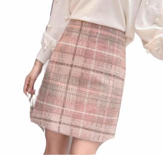 Skirts Tweed Wool Mini Women 2019 Korean Fashion Gray Pink and Black High Waist Woolen for Women Faldas-Gray-M