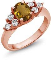 Gem Stone King 1.20 Ct Oval Whiskey Quartz White Diamond 18K Rose Gold Ring