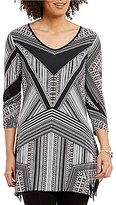 Peter Nygard V-Neck 3/4 Sleeve Printed Sharkbite Tunic