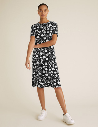 Marks and Spencer Floral Round Neck Swing Dress