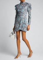 Jonathan Simkhai Metallic Vine Jacquard Mock-Neck Dress