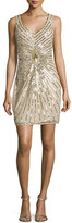 Aidan Mattox Sleeveless Linear-Beaded Cocktail Dress, Champagne