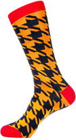 Jared Lang Houndstooth-Print Cotton-Blend Socks, Orange/Gray