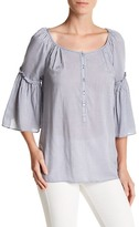 Max Studio Plaid Bell Sleeve Shirt