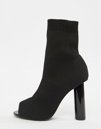 Public Desire Hussle Black Stretch peeptoe Heeled Sock Boots