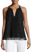 Joie Eliska Crochet Lace Sleeveless Top, Black