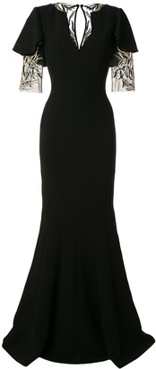 Saiid Kobeisy Sequinned Sleeve Gown