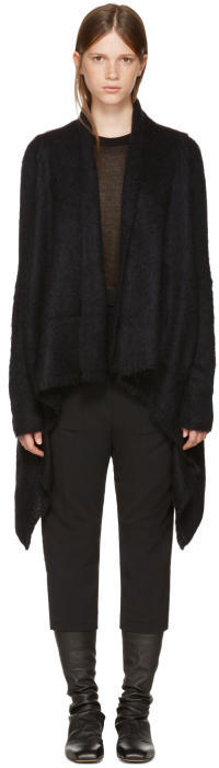 Rick Owens Black Merino Medium Wrap Cardigan