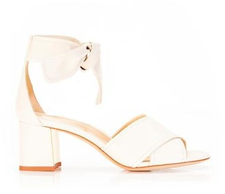 Marion Parke Bella Ivory | Leather Block Heel Ankle Tie Sandal