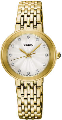 Seiko Women Crystal Gold-Tone Stainless Steel Bracelet Watch 28.5mm