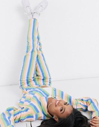 Daisy Street mom jeans in pastel rainbow stripe two-piece