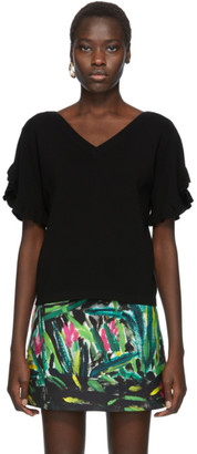 See by Chloe Black Ruffle Sleeve V-Neck Sweater