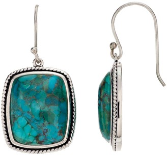 Sterling Silver Enhanced Turquoise Cabochon Rectangular Earrings