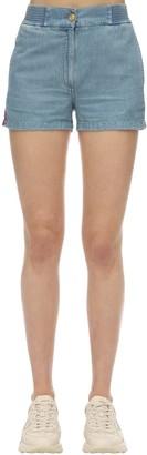 Gucci Cotton & Linen Denim Shorts W/Side Bands