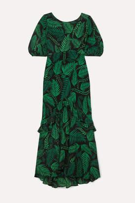 Rixo Cheryl Ruffled Printed Silk Crepe De Chine Midi Dress - Green