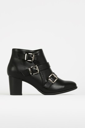 Wallis WIDE FIT Black Buckle Boot