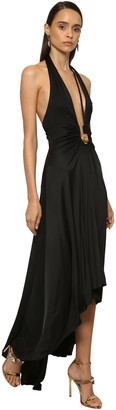 Roberto Cavalli Jersey High Low Dress W/ Leopard Detail