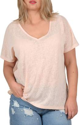 Gabrielle Plus Lace Back V-Neck T-Shirt