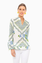 Tory Burch Terrace Ditsy Floral Cloud Engineered Printed Cotton Tunic