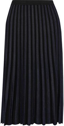 Diane von Furstenberg Klara Pleated Metallic Stretch-knit Skirt