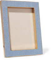 AERIN Faux Shagreen And Suede Picture Frame - Blue