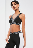 "Missguided ""Active Black """"WRK IT"""" Graphic Sports Bra"""
