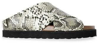 Ganni Snakeskin-Embossed Leather Slide Sandals