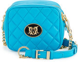 Love Moschino Napa Quilted Faux-Leather Crossbody Bag, Light Blue
